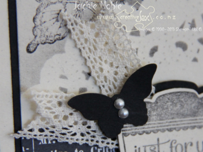 creativeJax - Masking using doillies. Papillon Potpourri, Label Love. Bitty Butterfly punch. Close-up of embellishment