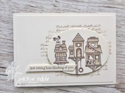 Monochromatic Thinking of you card featuring the Flying Home birdhouses